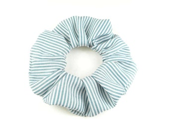 Scrunchie  cotton - blue and white stripped