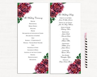 Burgundy wedding programs templates Dahlia program instant download Ceremony program flowers Wedding program printable Maroon wedding 1W19