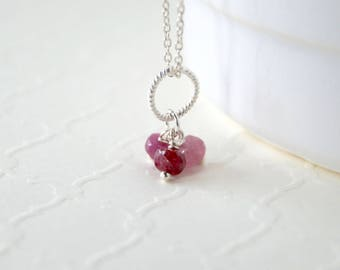 Natural Ruby Pendant - Sterling Silver Charm Dangle - Genuine Red Ruby Gemstones - Necklace Jewelry - July Birhtstone