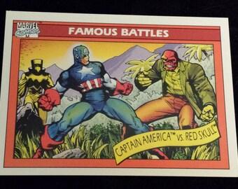 Captain America vs Red Skull #97 - 1990 Marvel Universe Series 1 Base Trading Card