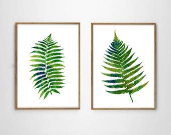 Fern Prints Set of 2 Fern Leaves Botanical Wall art Botanical Watercolor Boho Home Decor Green Minimalist Posters Foliage Fern Leaf Prints