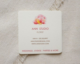 Watercolor Square Business Card - one sided- Calling Card - Mommy Card - Contact Card - Watercolor Flowers - Watercolor peony business card