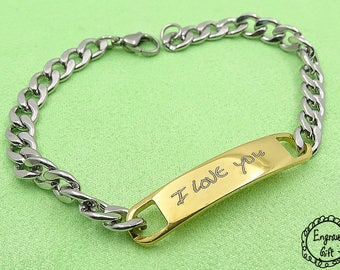 Personalized Custom Handwriting Engrave Women Stainless Steel Arc Bracelet , Gift to Girlfriend, Wife