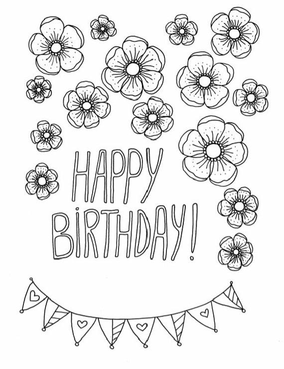 DIY Happy Birthday Card to color DIY Printable by ...