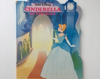 Vintage Cinderella at the Ball, Disney Cinderella book, 80s Cinderella book, hardboard Cinderella book, 80s Disney book, vintage Cinderella
