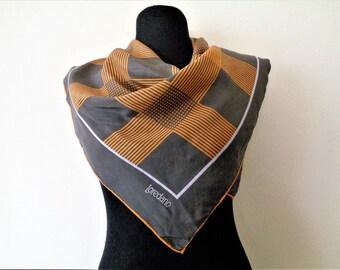 Vintage Silk Scarf by Loredano, Gray Orange Silk Scarf, Pure Silk Scarf