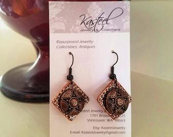 Vintage copper button earrings
