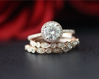 unique wedding ring set solid 14k rose gold moissanite ring set 65mm round cut moissanite - Unique Wedding Ring Set