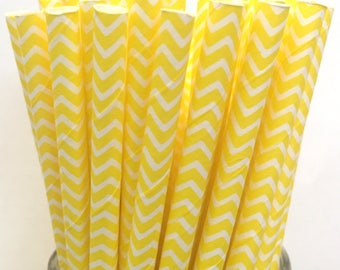 2.85 US Shipping -Yellow Chevron Paper Straws  -  Yellow Chevron Straws- Cake Pop Sticks