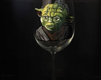 Yoda Hand Painted Wine Glass