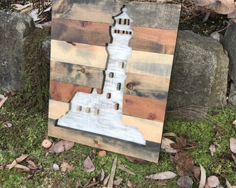 Rustic Nautical Wood Lighthouse Silhouette Wall Art