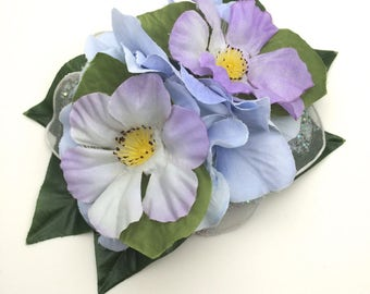 Handmade Delicate Vintage Style Lilac & Blue Hair flower Clip