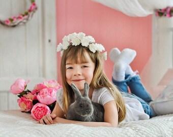 Flower girl headband  Baby flower headband Flower girl head wreath Flower girl hair accessories Wedding flower hair wreath Flower girl crown