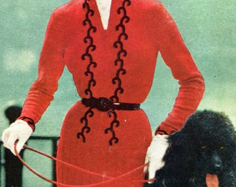 1950's Slim Dress with Long Sleeves Knitting Pattern PDF Instant Download