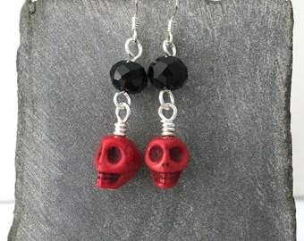 Red skull earrings / casual earrings / Dia de los Muertos earrings / Day of the Dead earrings / sugar skull earrings / red earrings