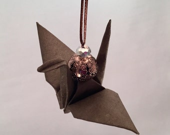 Brown Sparkly Origami Crane Holiday/Christmas Ornament