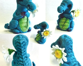 Blue Sculptured Alligator, Felt Collectors Item, Unique Ornament ,Original Ornament, Needle Felted Ornament, Genuine Hand Felted Item