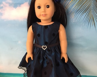 """Blue and Black Taffeta Party Dress with Hairclip for 18"""" Dolls like American Girl Dolls"""