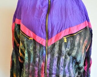 Vintage Sportswear / M / Medium / Running Gear Jacket / Run / Windbreaker / Track Top / Outwear / Activewear / Jacket / Purple / Rainbow