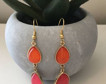 Pink and Orange Drop Earrings, Summer Drop Earrings, Summer Dangle Earrings, Pink Earrings