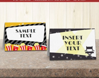 movie party labels food tent cards editable template printable party