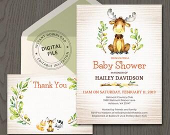 Baby shower invitation, moose invitation, deer elk caribou reindeer, woodland creature, forest animal, editable party invitation, DIGITAL