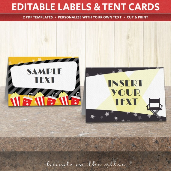 Il_570xn & Movie party labels food tent cards editable TEMPLATE printable ...