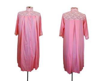 Vintage MuuMuu 1960s Robe 60s Robe Vintage Pinup Robe 1970s Robe 70s Robe Vintage Pink Robe Vintage Pink Dress Lace Robe Vintage Lingerie