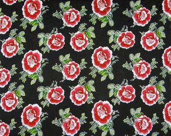 """Dressmaking Fabric, Red Floral Print, Black Fabric, Home Accessories, Quilting Fabric, 40"""" Inch Cotton Fabric By The Yard ZBC7266A"""