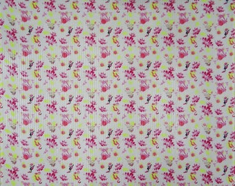 "White Cotton Fabric, Floral Print, Designer Fabric, Home Accessories, 43"" Inch Home DEcor Fabric By The Yard ZBC7481A"