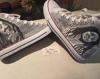 Bob Marley portrait canvas boots