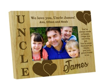 Wood Engraved Picture Frame, Personalized Uncle Frames, Custom Frames, Rustic Frame, Uncle Gift G4x6  / 5x7 Picture Frame  PWF30
