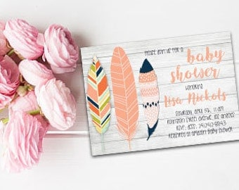 Feathers baby shower invite Boho feathers invite Bohemian invitation Feathers baby shower Boho baby shower Printable invite Printable Boho