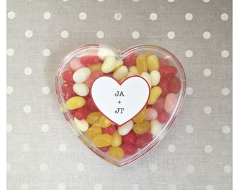Party Favor Boxes - Heart-Shaped with Custom Text for Birthdays, Weddings and Special Events  (5 PCS)