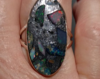 Ethiopian Opal In Pyrite Ring, Size 6 1/2