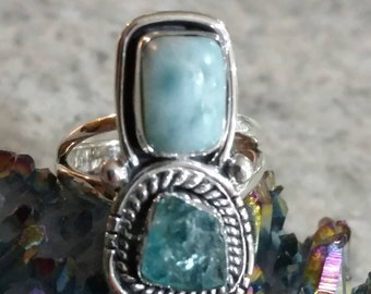 Larimar and Apatite Ring Size 6 1/2