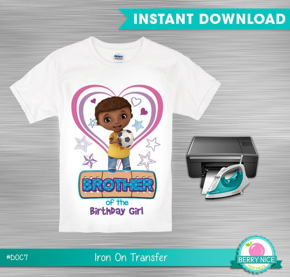 Doc mcstuffins iron on transfer brother of the birthday for Doc mcstuffins birthday girl shirt