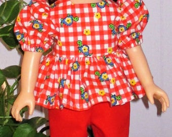 """18"""" ag red pants with red gingham blouse and hat to match, ag red pants, red gingham doll blouse and hat to match, red gingham doll hat"""