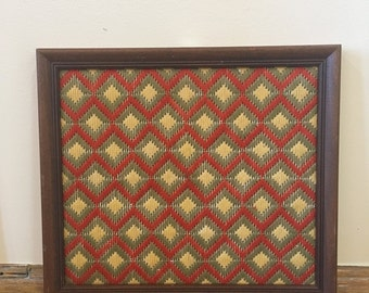 Wood Framed Geometric Pattern Wall Hanging