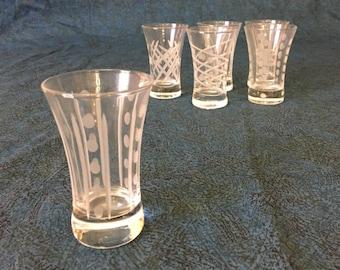 Vintage Etched Cut Glass Shot Glasses, Set of 6