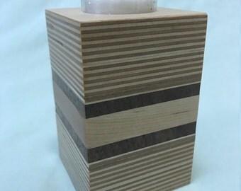 Plywood, walnut and pine tea light candle holder