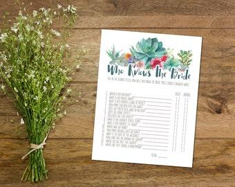 Bridal Shower Game Printable // Who Knows the Bride // Boho // Succulent // DIY // Floral