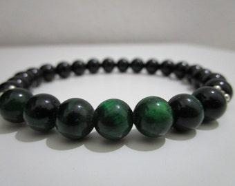 Green tiger eye, Onyx, Green tiger eye bracelet, Mens bracelet, Mens jewelry, Natural stone bracelet, Gift for men, Jewelry, Stone jewelry