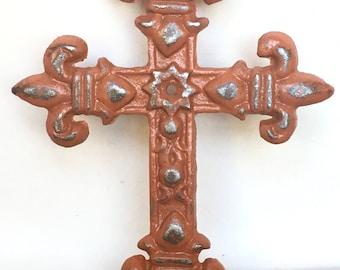Fleur de Lis Cross - Christian Wall Art - Gallery Wall Decor - Cast Iron Wall Cross - Decorative Crosses - Christian Gifts - Metal Cross