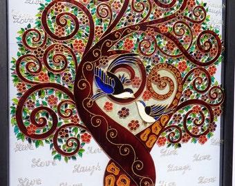 "Tree of love art 17""x21"" Love tree Tree of life art Glass painting Wall decor"