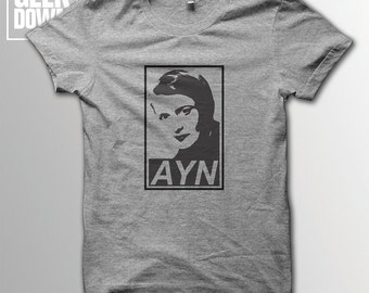 Ayn Rand *Obey* t-shirt tee // literary t-shirts / literary gifts / book lover gift / Randian hero / objectivism / Atlas Shrugged