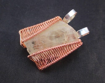 Brazilian Hiddenite Wire Wrap Pendant - OOAK - Flat Silver Plated Copper Wire-Copper Wire - Soothing, Nurturing, Grief, Love - Crystal Cave