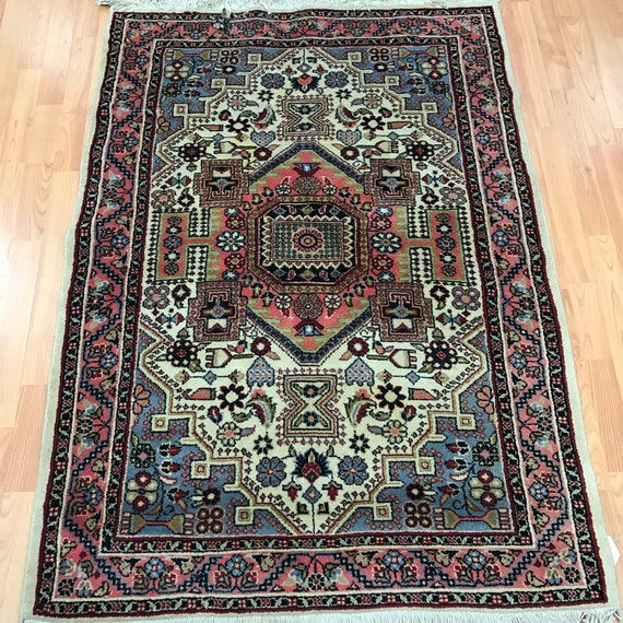"3'4"" x 4'2"" Persian Hamadan Oriental Rug - 1950s - Hand Made - 100% Wool"