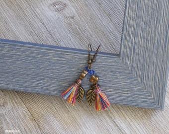 Multi Color Tassel Earrings | Leaf Charm | Blue Crystal Dangle and Drop Earrings