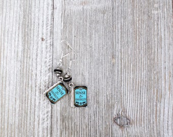 Jane Austen Earrings | Simple Earrings | Book Inspired Jewelry | Dangle and Drop Style